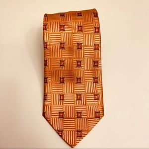 Ermenegildo Zegna Orange Silk Geometric Tie 59""
